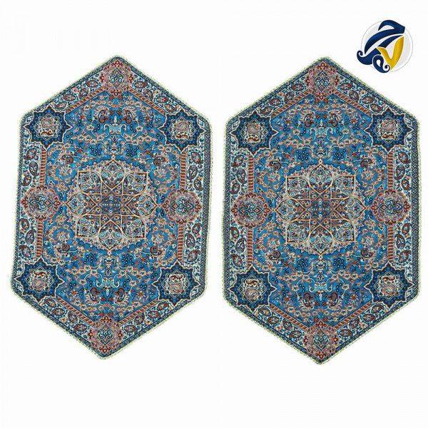 ست سه تکه رومیزی ترمه ابریشم حسینی یزد هفت رج