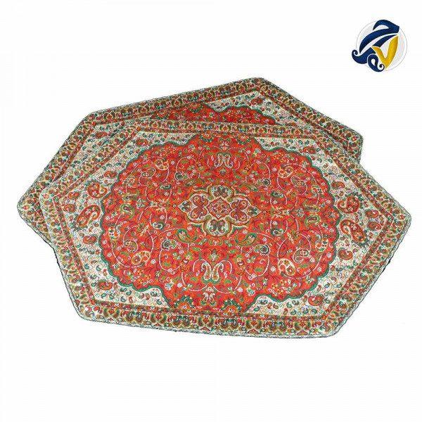 ست سه تکه رومیزی ترمه ابریشم حسینی هفت رج