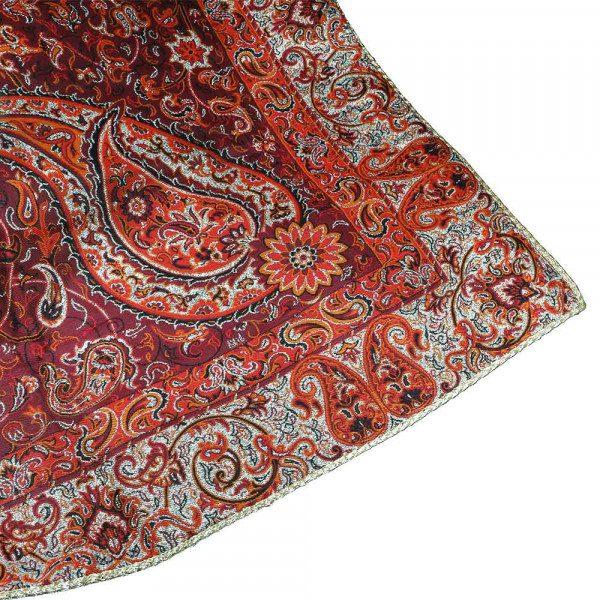 رومیزی مربع ترمه ابریشم حسینی یزد هفت رج
