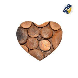 زیر لیوانی چوبی ست شش عددی طرح قلب