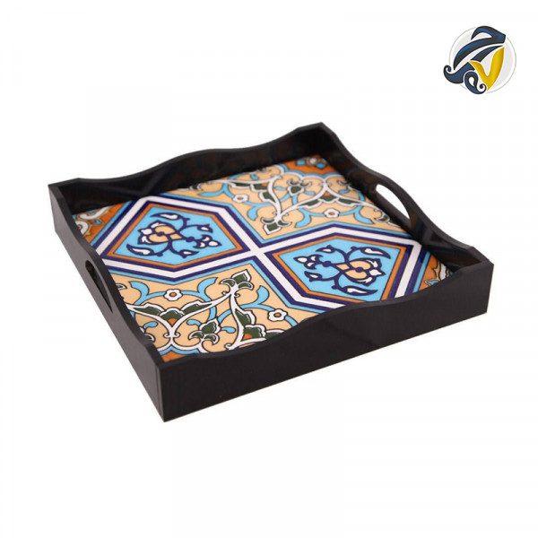 سینی چوبی مربع کاشی کاری مشکی